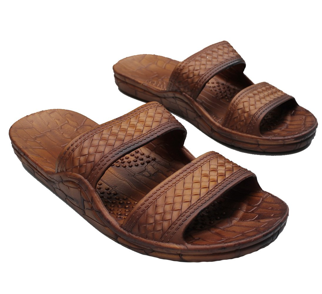 25251f31c Galleon - Brown Rubber Double Strap Jesus Style Imperial Brand Sandals.  Unisex Sandal For Men Women And Teens (9)