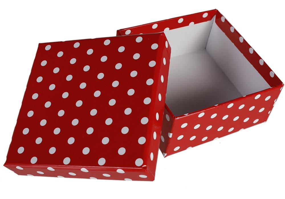 8-er Set circa 22,5 x 22,5 x 8 cm Out of the blue 101630 Geschenkkartonage mit wei/ßen Punkten rot
