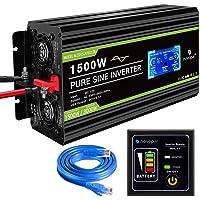 novopal - Inversor de energía de onda sinusoidal pura 1500W, 12V CC a 230V / 240V CA, convertidor de pantalla LCD 2…