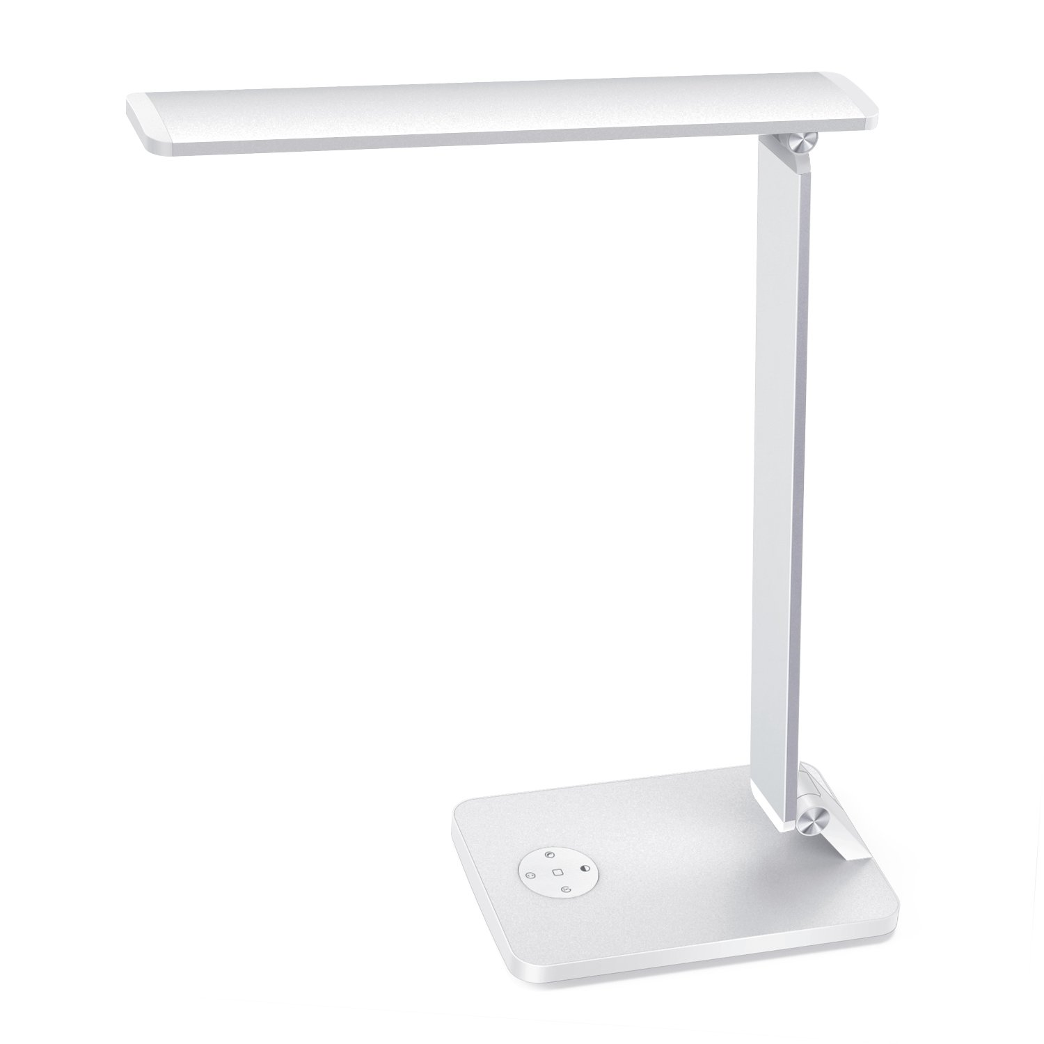 LED Desk Lamp, MoKo Smart Touch Stylish Metal Table Lamp, Rotatable Home Office Lamp with Stepless Brightness/Color Temperature, 5V 2.4A USB Charging Port, Memory Function, Sleep Mode - Silver