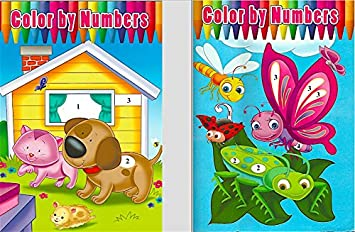 2 pack assorted color by numbers coloring books - Color By Number Books