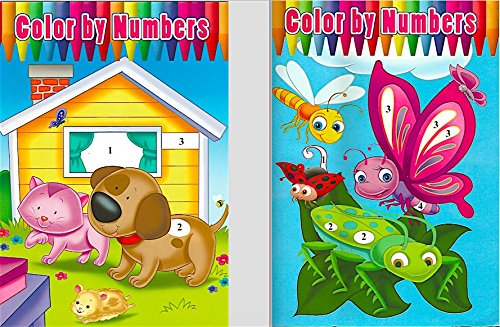 Amazon.com: 2 Pack Assorted Color By Numbers Coloring Books: Toys ...