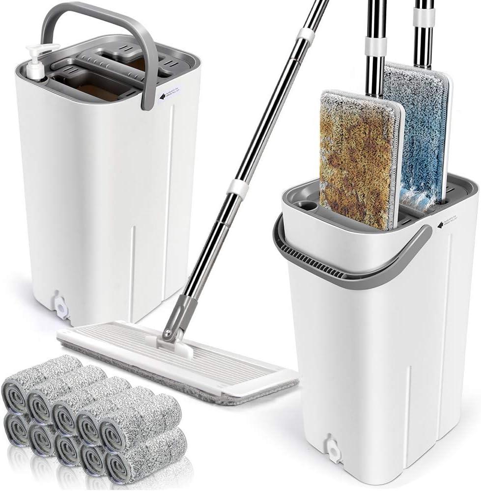SMALL FLAT MOP BUCKET MICROFIBRE WATER FLOOR CLEANER TILES MARBLE WOOD KITCHEN