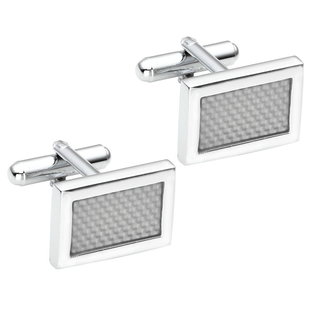 PiercingJ 2pcs Stainless Steel Exquisite GQ Classic Cufflinks Shirt Studs, Silvery Grey Rectangular