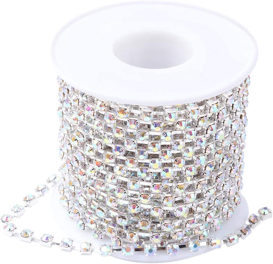 NBEADS 1 Roll of 10 Yards 2mm Crystal Beads Chain Rhinestone Chain Trimming Crystal Beads String Roll for DIY Arts and Crafts Accessories