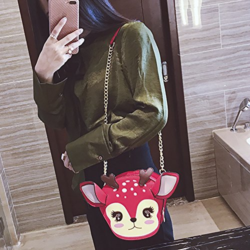 Shoulder Red Leather Pu Shaped Clutch Girl's Bag Onfahion Crossbody Bag Purse Fawn Deer Shaped Animal Funny gxq8wZ4O