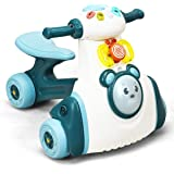 BABY JOY Baby Balance Bike, No Pedal Toddler Walker w/Light, Music, Game Panel, 4 Wheels Bicycle for 19-36 Months, 1st Birthd
