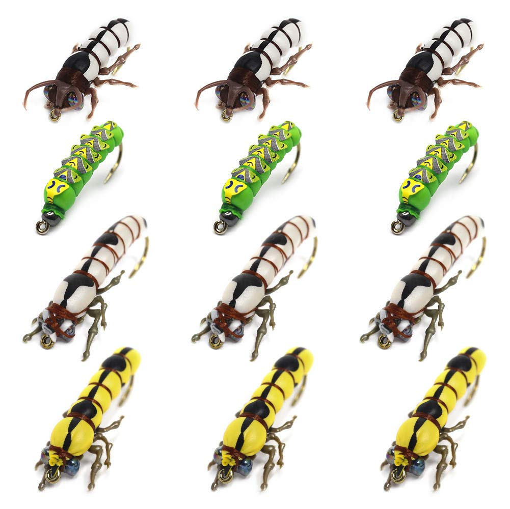 YZD Fly Fishing Flies Trout Lure kit Dry Wet Fly-Fishing Flies Realistic Flies Larvae Set of 12 Flies Terrestrial Bumble Wasp Grasshopper Stone Flies Assortment Mayfly Stonefly