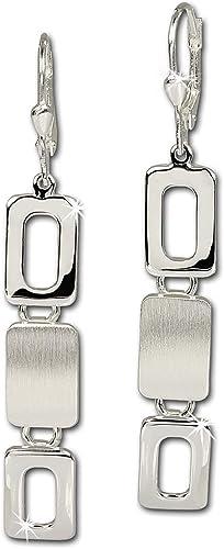 925 Silber Ohrhänger Ohrringe Ohrschmuck mit Ohrhaken zwei Quadrate mattiert
