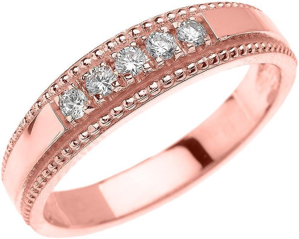 Elegant Cubic Zirconia Wedding Band In Rose Gold