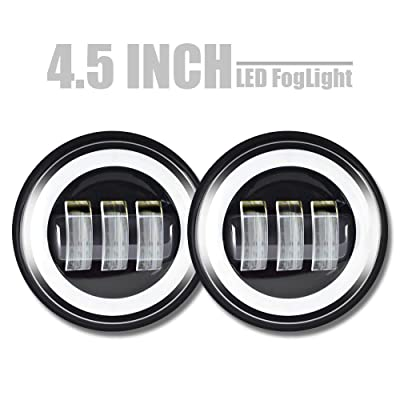 """QUAKEWORLD 4-1/2"""" Auxiliary Passing Lamps for Harley Davidson Road King Yamaha Royal Star Venture Firebird Heritage Softail Ultra Classic,4.5Inch Round Led Fog Lights with Halo DRL: Automotive"""