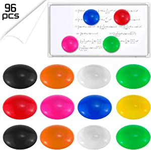 DLOnline 96 Pieces 3cm 1.2'' Half Ball Mini Fridge Magnets, Round Button Magnetic Office Supplies Magnets(8 colors)