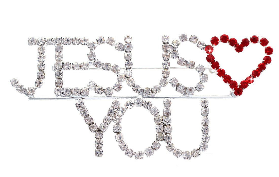 JESUS LOVES YOU Red Heart Christian Brooch Pin