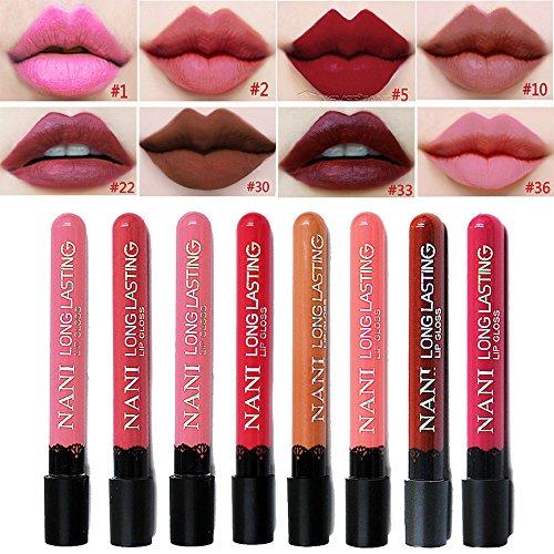 Lip Gloss Pencil (Neverland Beauty wasserdichte flussige Make-up Lip Pencil Matte Lippenstift 8pcs/set Lip Gloss Super Long Lasting with Free Bag (SET4))
