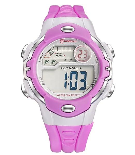 ... LED Reloj Digital con Correa de Gaucho para Niño Niña con Alarma Fecha Cronómetro Calendario 30M Waterproof Wrist Watch - Púrpura: Amazon.es: Relojes