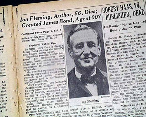 1964 Newspaper (IAN FLEMING Creator of JAMES BOND Agent 007 Spy Novels DEATH 1964 Old Newspaper THE NEW YORK TIMES, August 13, 1964)