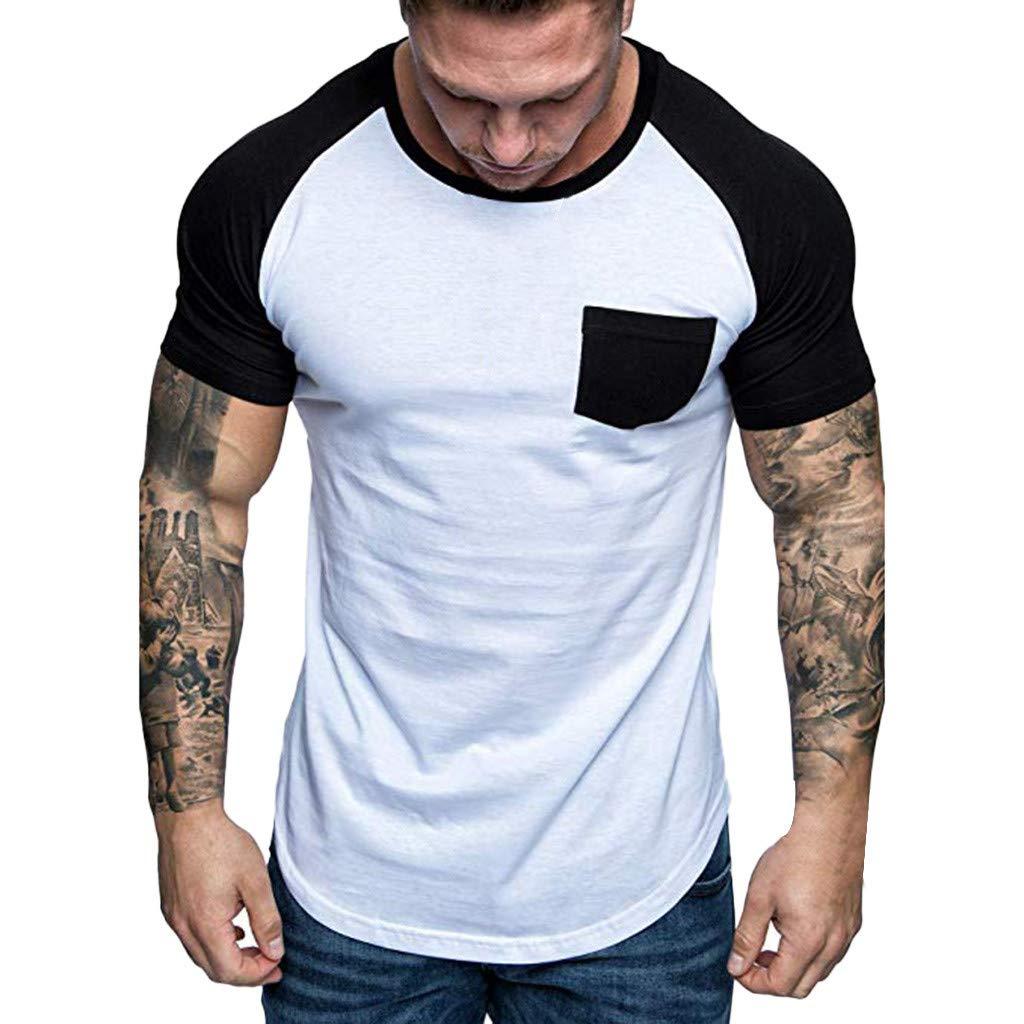 Tee Men's Work Wear Pocket Short-Sleeve T-Shirt Cotton Slim Fit Summer T-Shirt Tops Black