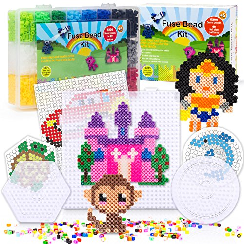 5200 Fuse Bead Set For Kids 5mm 22 Colors   60 Full Size Patterns 3 Pegboards Ironing Paper Storage Case Perler Beads Compatible Kit (Fun Shapes Fuse Bead Kit)
