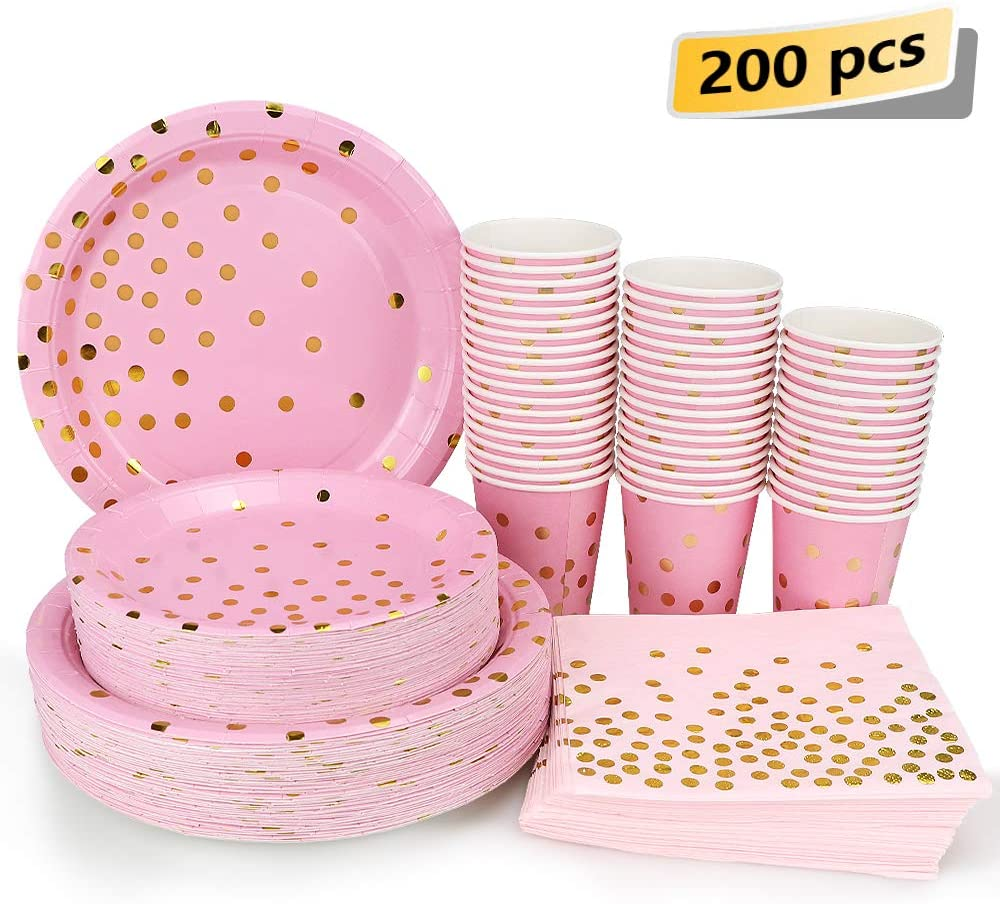 Pink and Gold Party Supplies - 200PCS Disposable Pink Paper Plates Dinnerware Set Gold Dots 50 Dinner Plates 50 Dessert Plates 50 9oz Cups 50 Napkins Wedding Birthday Party Baby Shower Christmas