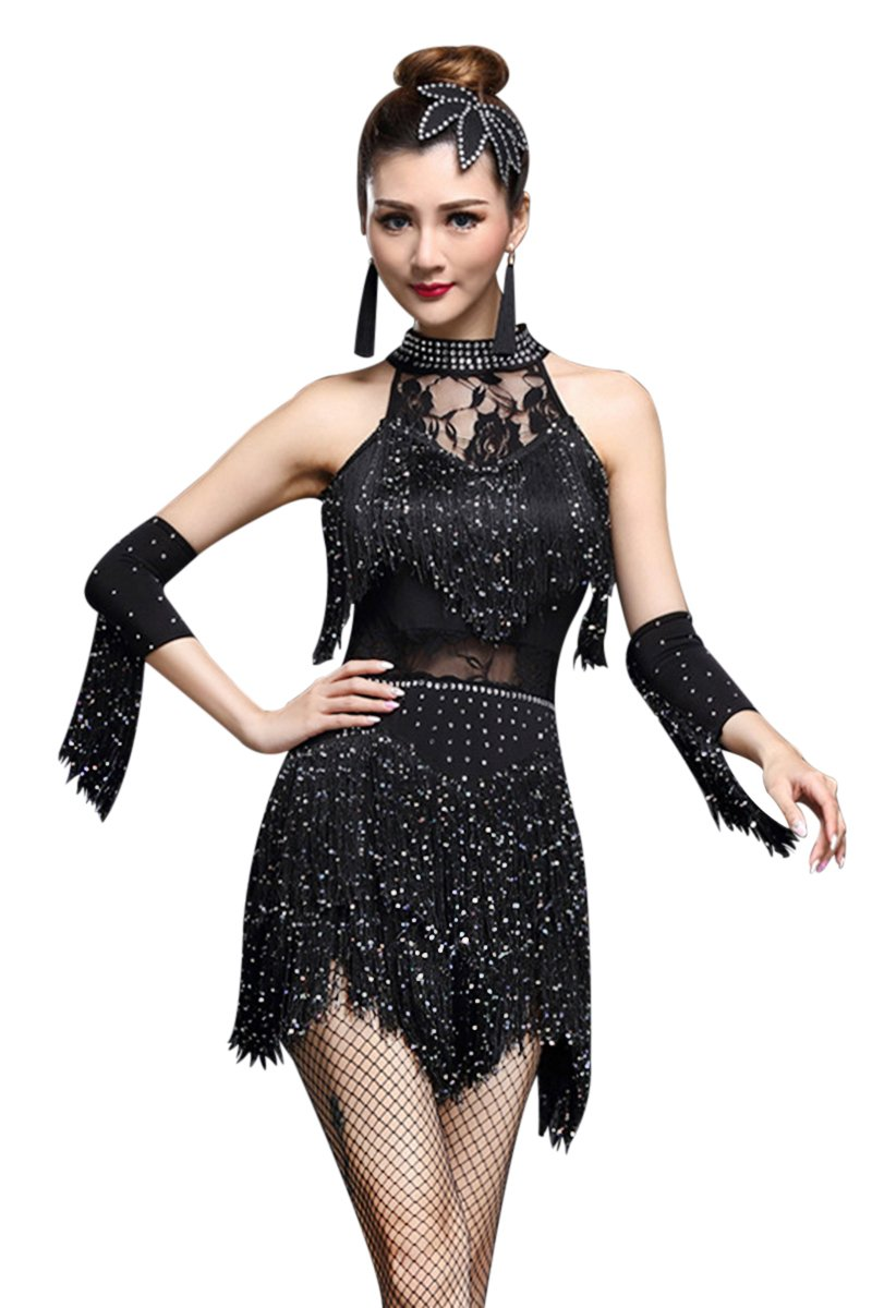 ZX Women's Rhinestone Tassel Flapper Latin Rumba Dance Dress 4 Pieces Outfits (Tag L, Black) by ZX