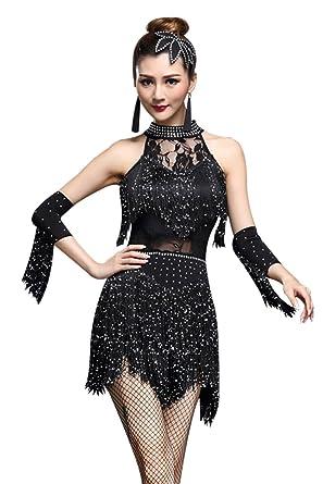 ffa15caee ZX Women's Rhinestone Tassel Flapper Latin Rumba Dance Dress 4 Pieces  Outfits (Tag M,