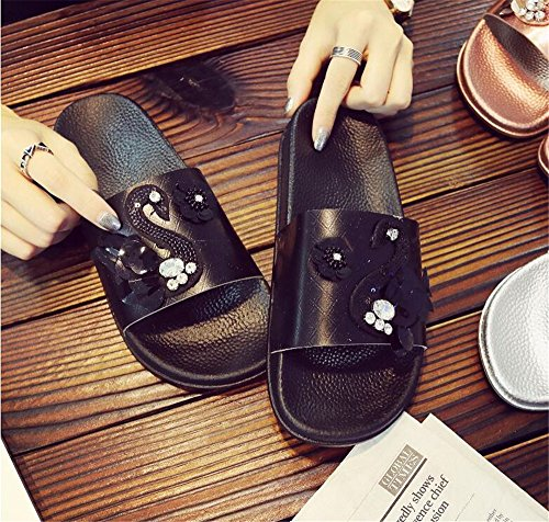 Black FORTUN Soled Sandals Thick Sequined Beach Slipper Cute Swan Rhinestone Shoes qr5qwnvEx