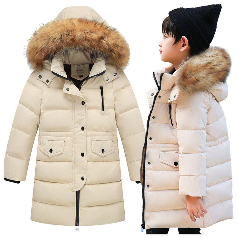 Amazon.com: LSERVER Kids Little Big Girls Boys Winter Parka White Duck Down Coat Jacket with Fur Hood: Clothing