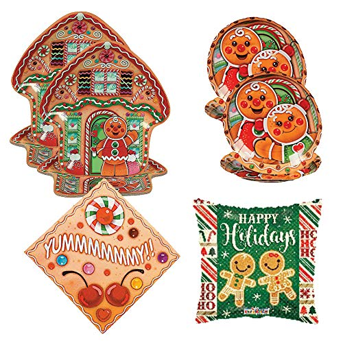 RazzleDazzleCelebrations Candy Town Gingerbread House Party Supplies, 16 Guests - Large and Small Plates, Napkins, Balloon