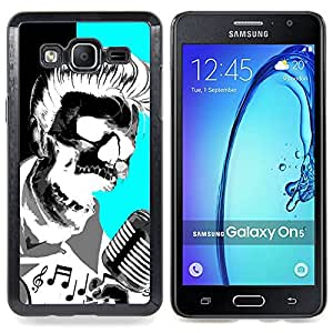 - Elvis Music Rock Roll Microphone Skull - - Snap-On Rugged Hard Cover Case Funny HouseFOR Samsung Galaxy On5 SM-G550FY G550