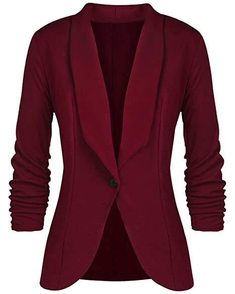 Womens Blazer 3/4 Ruched Sleeves Open-Front Lightweight Work Office Blazers Jacket