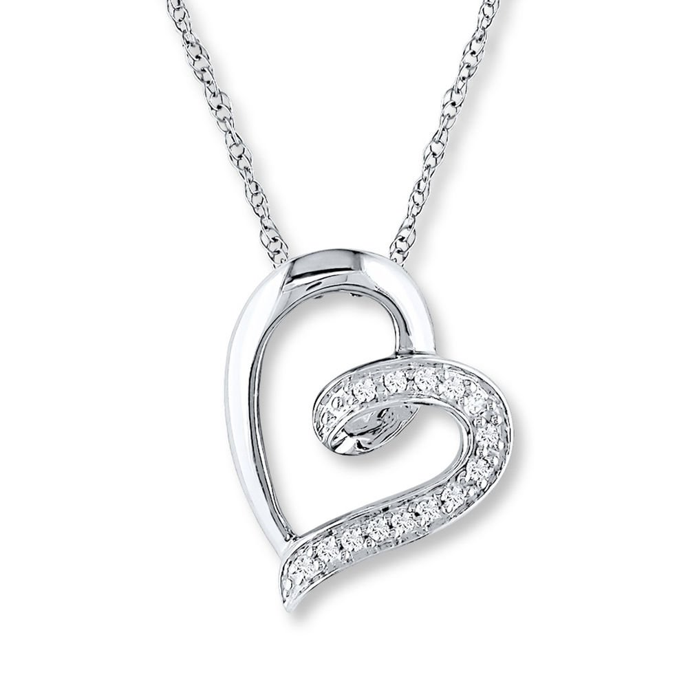 Valentine/'s Day Love Gift Diamond Heart Necklace 1//20 ct tw Round-Cut 14K White Gold Plated