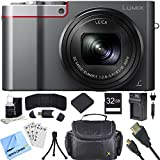 Panasonic ZS100 LUMIX 4K 20 MP Digital Camera w/ Wi-Fi Silver (DMC-ZS100S) 32GB Card Bundle includes Camera, Memory Card, Wallet, Battery, Bag, HDMI Cable, Cleaning Kit, Beach Camera Cloth and More