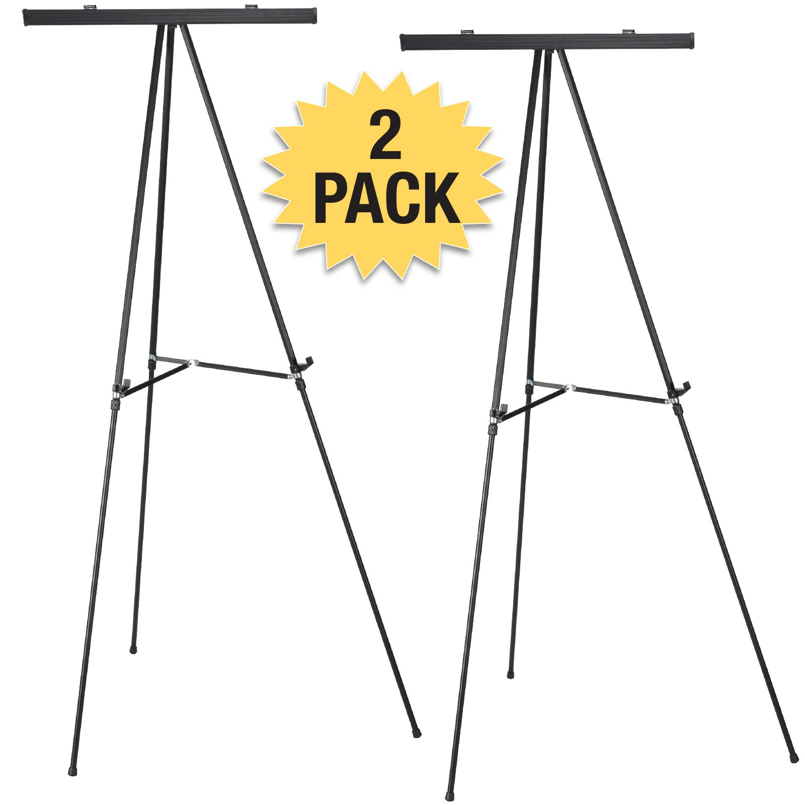 Aluminum Flip-Chart Presentation Easel: 2-Pack with Telescoping Legs, 70 Inches (Black)