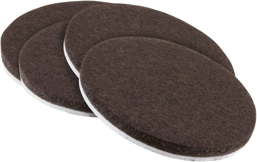 SoftTouch 4723695N Round Self-Stick Felt Pads Surfaces – Protect your Hard Floors from Furniture Scratches 3 Inch, Brown (4 Pieces),