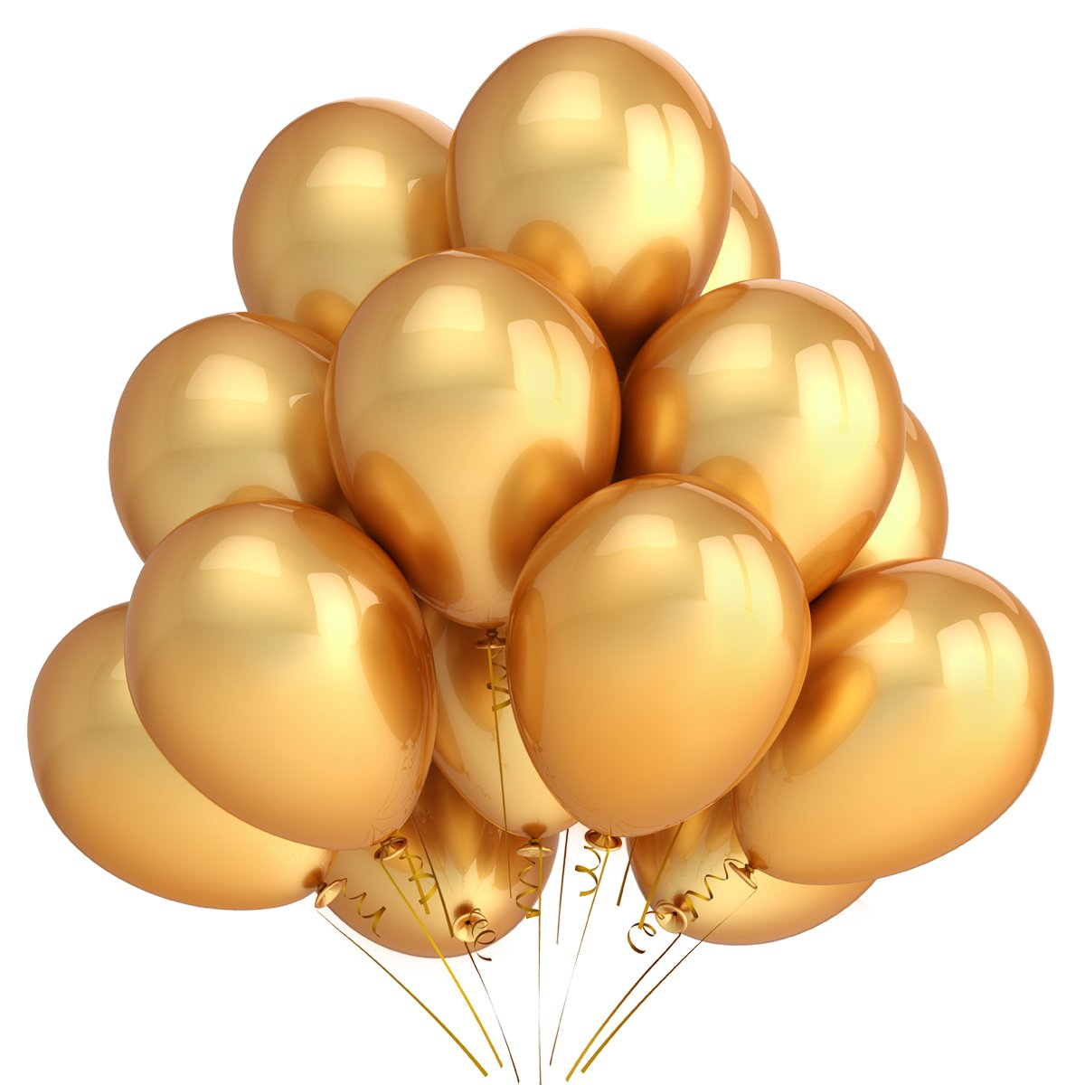 Gold Balloons Decorations, 100 Pack 12 \'\' Gold Color Latex Balloons and 1 Pack Balloons Inflator Pump and 2 Rolls of Gold Curling Ribbons