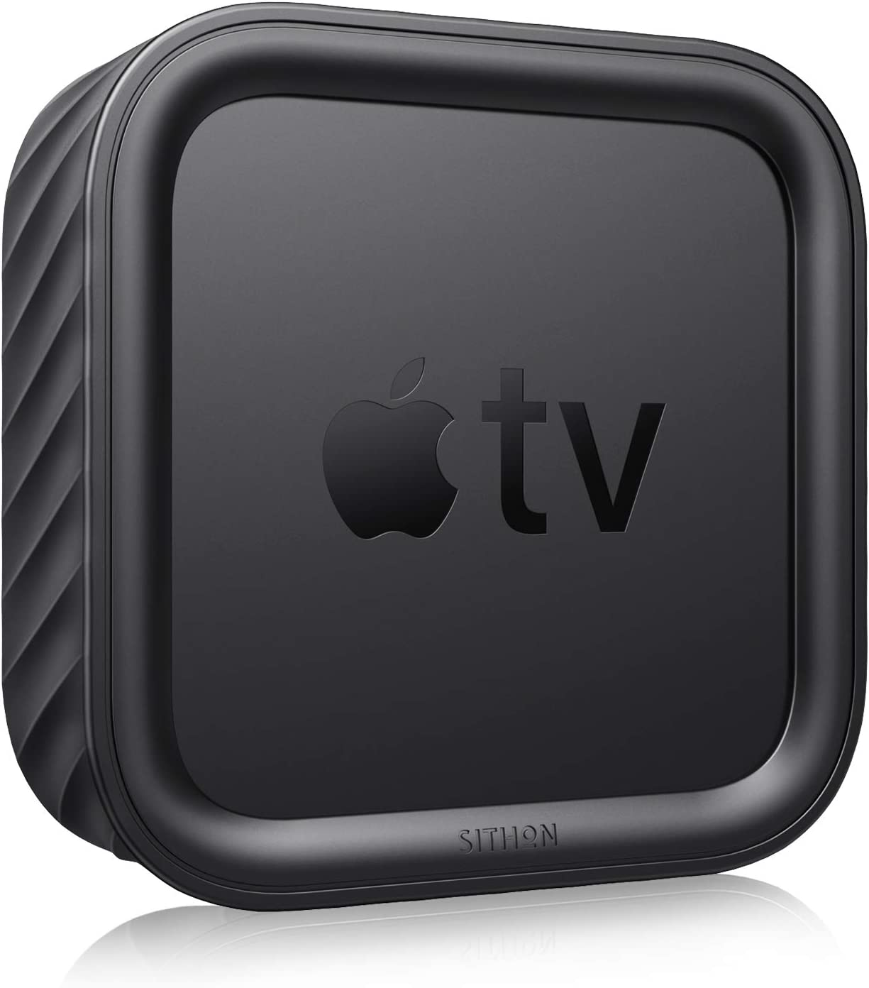 SITHON Silicone Case for Apple TV 4K (2nd & 1st Gen) / Apple TV HD, Lightweight Shockproof Anti Slip Protective Cover for Apple TV 4K 2021 / HD 4th Generation, Black