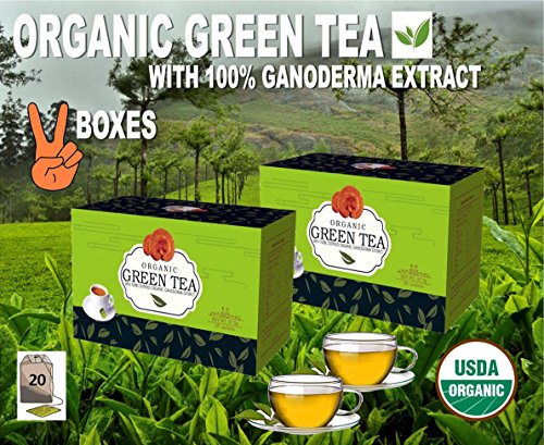 Two Boxes! Organic Gold Green Tea With 100% Certified Ganode