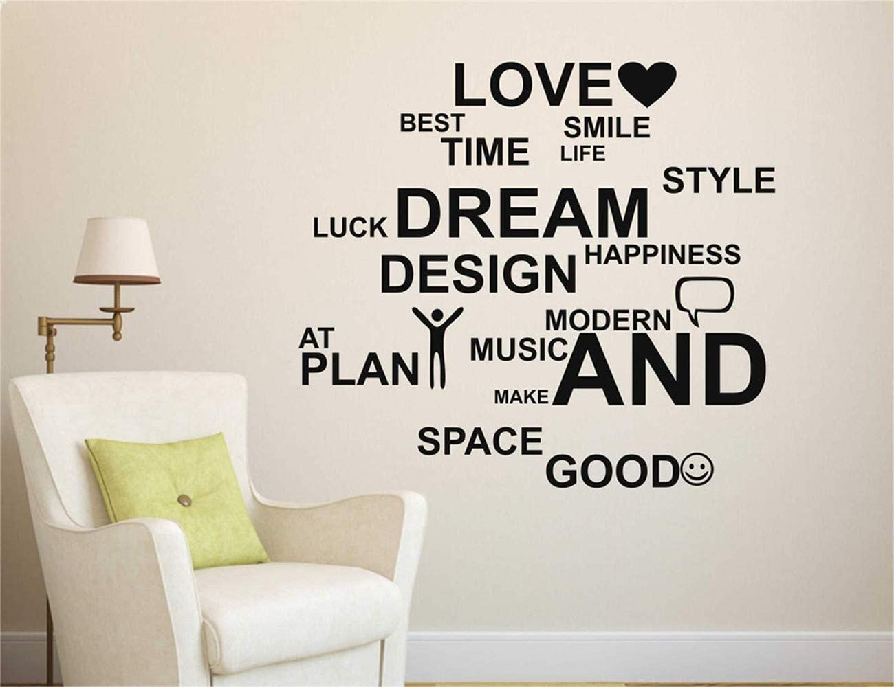Amazon Com Wall Stickers Inspiring Quotes Home Art Decor Decal Mural Life Quotes Love Best Time Smile Luck Dream For Bedroom Living Room Home Kitchen
