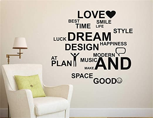 Wall Stickers Happiness Smile Love Family Quote Art Decals Vinyl Home Room Decor