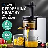 Devanti Cold Press Slow Juicer Processor Mixer Extractor Vegetable Fruit Silver