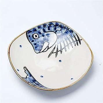 YUWANW Vajilla de cerámica, Plato de la casa, Placa Japonesa, Placa Cuadrada,