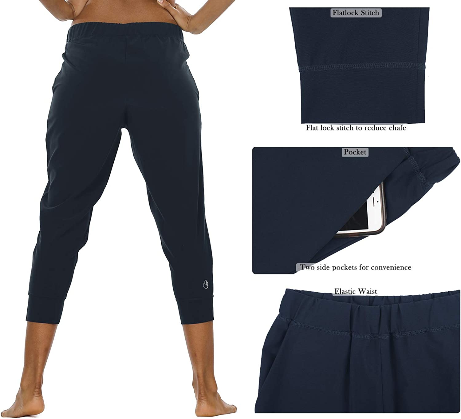Athletic Workout Outdoor Lounge Woven Capri Pants with Pockets icyzone Lightweight Joggers Pants for Women