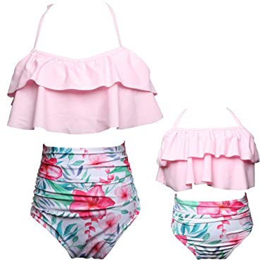 c470a6120cb53 Amazon.com  Mukola Mommy and Me Swimsuits Matching Two Piece High Waisted  Flounced Bikini Bathing Suit for Baby Girls  Clothing