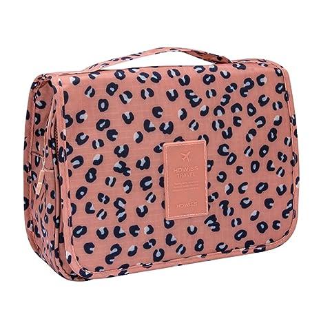 COOJA Bolsa de Aseo con Percha, Impermeable Bolsa Maquillaje Organizador Colgante Neceseres de Viaje Mujer con Compartimentos -Marrón
