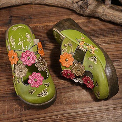 Ankle Flat Green Vintage Shoes Shoes Socofy Backless Slip Leather Summer Loafer Oxford Flower Colorful Girls for ONS Slipper Sandals Leather Women's Ladies Platform Heel Wedges Slipper RxgZPR