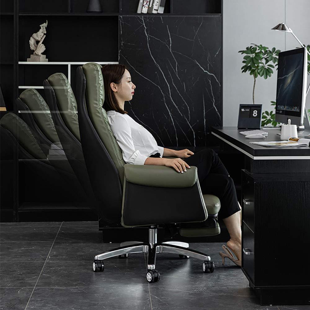 SHJR Kontor justerbar svängbar stol, fåtölj, andningsbar läder skrivbordsstol, enkel soffa, armstol, flera färger tillgängliga, grön Svart
