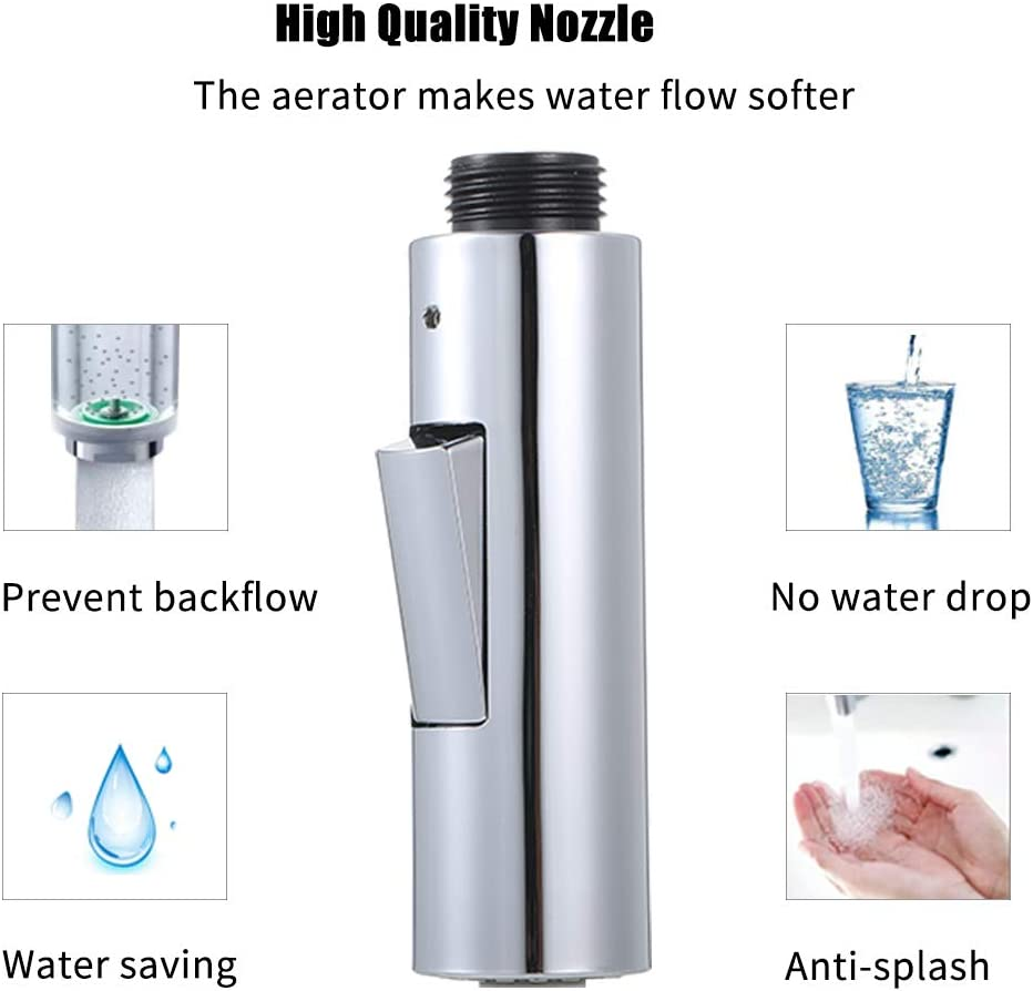Weehey Faucet Pull-Out Spray Head Replacement Part 2-Function with Check Valve G1//2 Connection Pull Down Kitchen Faucet Nozzle Brushed Nickel