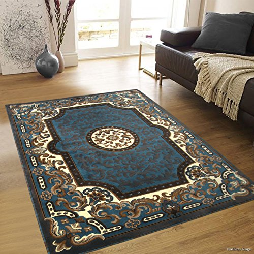 (Allstar 8 X 10 Light Blue with Brown Woven Traditional Printed Area Rug (7' 10