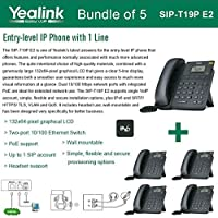 Yealink SIP-T19P E2 Bundle of 5 VoIP Phone with 1 Line, PoE, Dual 10/100 Mbps