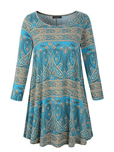 (Veranee Women's Plus Size Swing Tunic Top 3/4 Sleeve Floral Flare T-Shirt (XX-Large, 16-7))